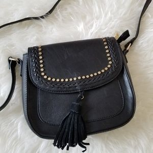 Studded tassle leather crossbody bag